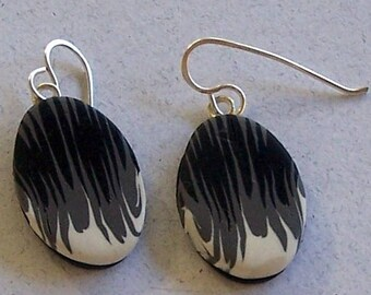 Black, Gray, and White Striped Cane Polymer Clay Earrings by Carol Wilson of PollyClayDesigns