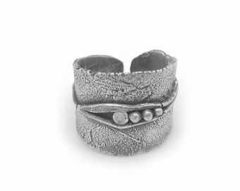 Adjustable Silver Wide Band Ring | Silver Adjustable Ring | CZ Diamond Ring | Organic Wide Ring | Metal Clay Jewelry | Silver ClayJewelry