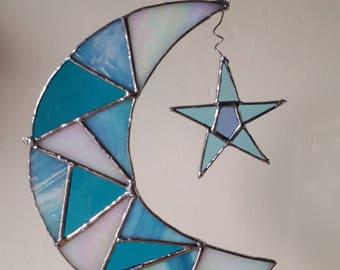 Moon and Star stained glass mosaic suncatcher sun catcher Crescent moon lunar gift
