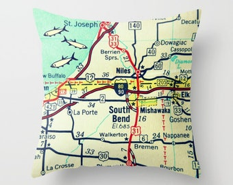 Indiana Pillow Cover, Indiana Map Pillow, Custom Indiana Map Pillow, IN Map Throw Pillow, South Bend Gift IN  Map Throw Pillow