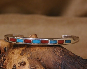 Sterling Silver Cuff Bracelet with Coral and Turquoise Inlay