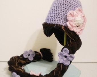 Crochet Rapunzel Hat with Braid - Tangled Rapunzel movie costume hat - crochet hats for girls - Halloween costume