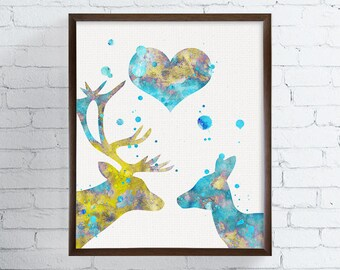 Deer Couple, Deer Art Print, Engagement Gift, Wedding Gift, Housewarming Gift, Watercolor Art, Deer Painting, Love Gifts, Gift Idea, Framed