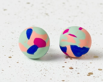 Stud earrings, Minimal earrings, Pastel earrings, Polymer clay earring, Geometric earrings, Simple earring, Everyday earrings, Modern studs