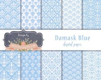 SALE 10 x Damask Blue Digital Papers, Blue digital paper, Damask Blue, Blue Digital Scrapbooking Paper, Instant Download