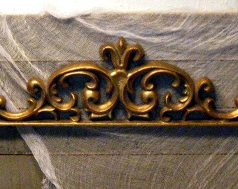 Gold Wall Pediment - Resin Moulding - Furniture Applique - Gilded Pediment - Photo Moulding - Ornate Gilded Moulding