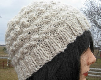 Knit Alpaca and Wool Hat for Men or Women, Handmade Beanie, White Winter Hat