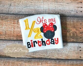 Half Birthday - 6m birthday - mouse - birthday - baby shower gift - happy half birthday