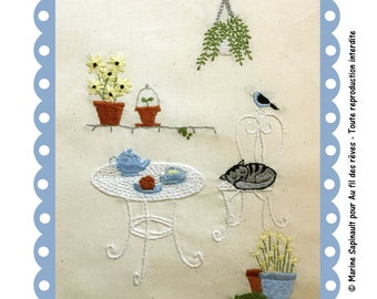"""Traditional Embroidery Kit """"Tea time"""""""