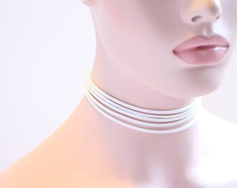 Free Shipping!! 5 Multilayer White Rope Chokers Necklaces