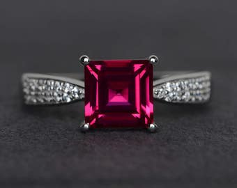 ruby ring silver square cut ruby engagement ring sterling silver ring July birthstone ring