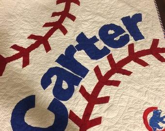Chicago Cubs baseball quilt