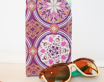 Purple Medallion, Sunglass Case|Glass Sleeve|Monogrammed Cases for Over sized glasses|Funky Sunglass case|Polka Dots|Sunglass sleeves