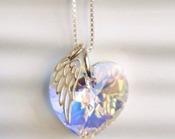 Loss of Husband - Miscarry Jewelry - Memorial -  Crystal Heart Necklace Swarovski Crystal Sterling Silver -  Angel Wing Necklace - Memorial