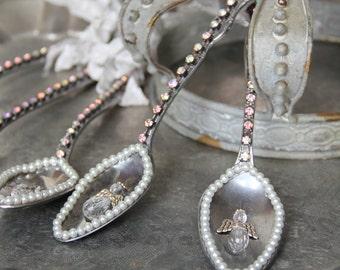 Vintage spoon ornament, Silver spoon ornament, angel ornament, Mediterranea Design Studio, tarnished silver, vintage french decor