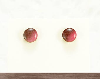 Titanium simple earrings studs, Pink and brown stud earrings, Small wood studs, Japanese jewelry, Earrings for sensitive ears