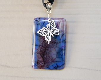 Purple Dragon Vein Agate with Butterfly Charm Pendant