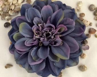 Blue Dahlia large silk flower hair clip