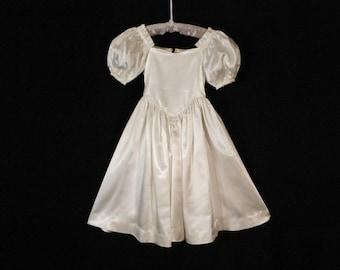 Satin Little Girls Bridesmaid Formal Ivory Vintage 60s dress