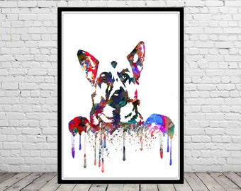 German Shepherd, watercolor art print, animal print, home decor, watercolor German Shepherd, German Shepherd print, animal art, dog (2243b)