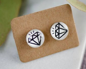 Diamond Earrings / Free Shipping / Surgical Steel / Gift Women / Gift Girl / Diamond Jewelry / Diamonds / Statement Jewelry / Black Diamonds