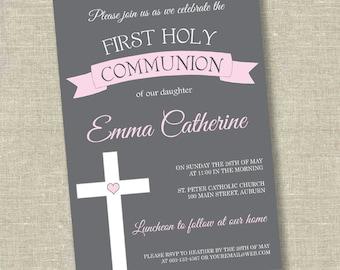 Girl first communion invitation, communion invitation, 1st communion invitation, girl 1st communion invitation, pink first communion