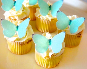 EDIBLE Butterflies Small Teal Blue Green-  Cake & Cupcake toppers - Food Decoration - PRECUT and Ready to Use