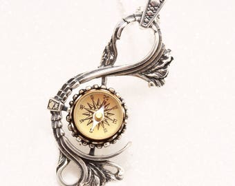 Sterling Compass Necklace Sterling Silver Compass Working Compass