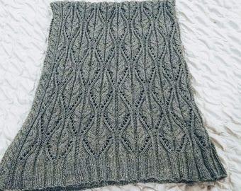 Wheat handknit throw blanket