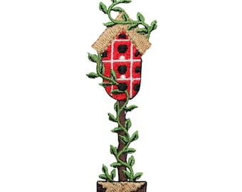 ID 7267 Checkered Bird House With Vines Patch Home Embroidered Iron On Applique