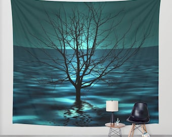 Tree in Ocean Wall Tapestry, Teal Wall Art , Surreal Art Photography, Modern, Home, Office Tapestry, DormArt, Outdoor, Aqua Blue, Nature