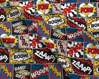 Comic Book Fabric - Modern Comic Book Superhero Pattern Large By Seasonofvictory - Comic Book Pow Cotton Fabric By The Yard With Spoonflower
