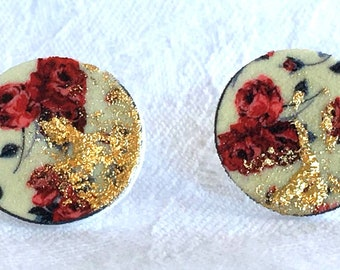 dangle earrings vintage red and gold on stainless steel/Round vintage red and gold earrings flourished pin we stalk stainless