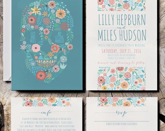 Floral Skull Wedding Invitations with pastel flowers / Mexican Sugar Skull Invites / Floral wedding invitations / rustic flower invites