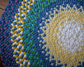 Made To Order Custom Handmade Hand Braided Round  Rug / Rag Rug/ Carpet in your choice of colors for the nursery / bathroom / entry / office