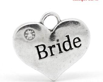 Silver Bride Charms for Bride Jewelry, Heart, Wedding Charms, Bridal bouquet charm, Bride necklace/Bracelet Charms Pendants DIY bride