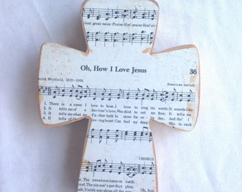 Oh How I Love Jesus Wood Wall Hymnal Cross MADE TO ORDER