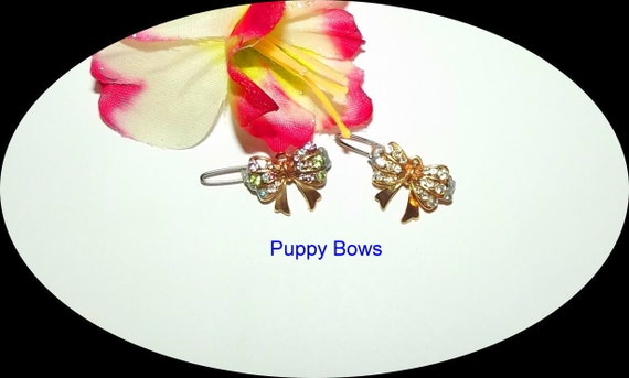 Puppy Bows ~CLEARANCE SALE 50%  TINY bowknot flower pearls rhinestones dog bow  pet hair clip barrette