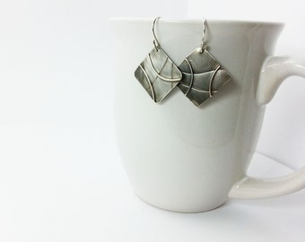 Unique Sterling Silver Earrings Abstract Patterned Square Design with Sterling Silver Ear Wires and Satin Charcoal Patina
