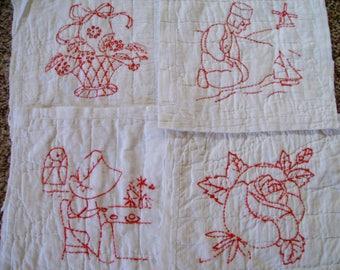 antique redwork  antique quilt squares antique quilt  redwork quilt blocks red work quilt piece