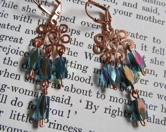 Item 2324 Iridescent Teal Copper Earrings