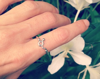 dopamine molecule ring in solid sterling silver