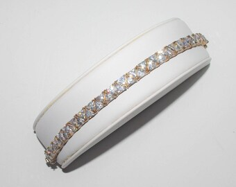 SOLD - Reserved for Renee // Trilliant Cut BRACELET - Clear Crystals in Gold Over Silver - S2208