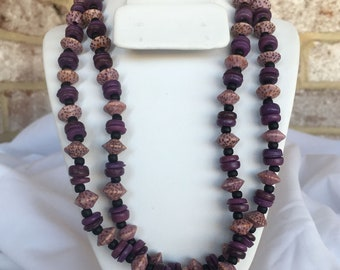Purple Natural Coconut Bead Necklace