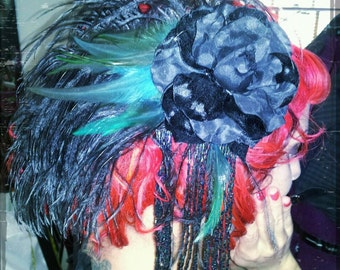 Feather Fringe Velvet Flower Fascinator - Hollywood Hills