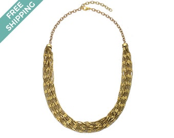 Gold Beaded Multi-layered Costume Jewellery Necklace