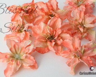 Silk Flowers - 8 Delphinium Blossoms in CORAL PINK - ALMOST 2.5 Inches - Artificial Flowers