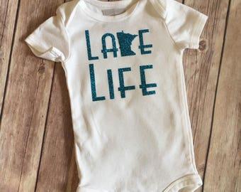 Minnesota lake life onesie, baby onesie, lake life