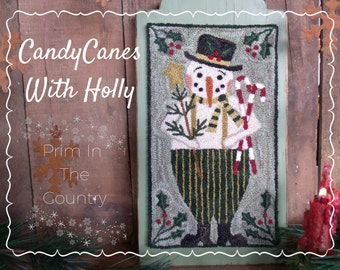 Candy Canes With Holly Punch Needle Pattern