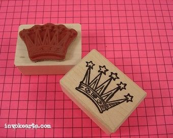 Star Crown Stamp / Invoke Arts Collage Rubber Stamps